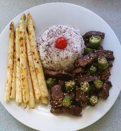 Korean kalbi with okra, rice, and grilled white asparagus #MrsKimchi #BillieCooks #homemade