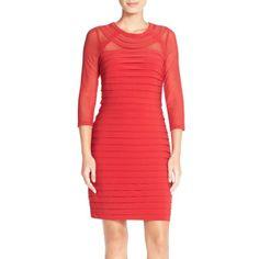 Adrianna Papell Illusion Pleated Jersey Sheath Dress