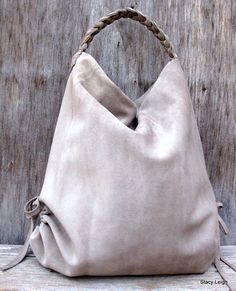 Slouchy Leather Hobo Bag in Taupe Stone Gray Suede by stacyleigh Diese und weitere Taschen auf www.designertaschen-shops.de entdecken