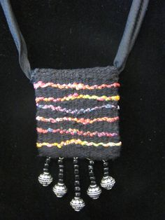 Handwoven tapestry pendant with beaded fringe