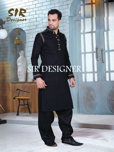 Mens Designer festive cotton pathani suit with collar neck, short button placket and full sleeves and curve hem. Comes with matching bottom. Gents Kurta Design, Boys Kurta Design, Kurta Pajama Men, Kurta Men, Pathani Suit Men, Latest Kurta Designs, Mens Shalwar Kameez, Kurta Patterns, Indian Groom Wear