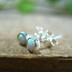 Stud Earrings Sterling Silver Opal Gem Piercing/Lobe/Nose/Cartilage/Helix/Tragus on Etsy, $15.00