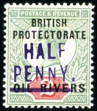 Niger Coast Protectorate - 1893 HALF PENNY on surcharge in violet showing additional variety: N in PENNY much smaller' Colonial, Stamp Values, World Oil, Empire, Stamp Collecting, Postage Stamps, British, River, Queen Victoria