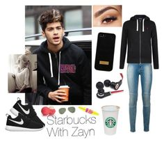 """Starbucks With Zayn❤"" by one-direction-outfitsxxx ❤ liked on Polyvore featuring Hudson, NIKE, Eos, Ted Baker, Monster, Ray-Ban, Maybelline, Lancôme and Polo Ralph Lauren"