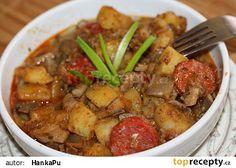 Bramborový guláš z hlívy ústřičné No Salt Recipes, Kung Pao Chicken, Pork, Beef, Dinner, Cooking, Ethnic Recipes, Red Peppers, Kale Stir Fry
