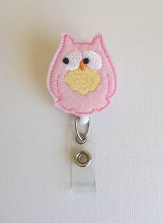 Light Pink Owl Felt Badge Reel  Retractable by SimplyReelDesigns