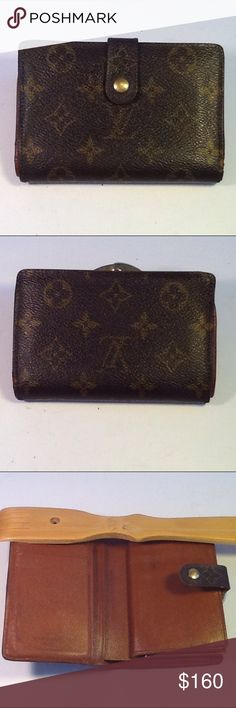 Authentic Louis Vuitton Porte Monaie Brown Wallet Leather and canvas showed signs of used. Sone peeling are inside the money pocket. The wallet was made in France with a date code MI 0970. Louis Vuitton Accessories