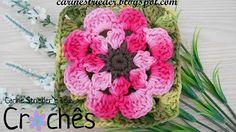 Caminho de Mesa Espiral por Carine Strieder - YouTube Crochet Edging Patterns, Crochet Squares, Crochet Granny, Crochet Motif, Crochet Designs, Flower Patterns, Crochet Flower Tutorial, Crochet Diy, Crochet Flowers