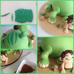 Use darker green fondant to add Arlo's dinosaur stripes, blades of grass, and finishing touches The Good Dinosaur Cake, Dino Cake, Dinasour Cake, Arlo Und Spot, Dinosaur Birthday Cakes, Fondant Animals, Fondant Tutorial, Sugar Art, Marzipan