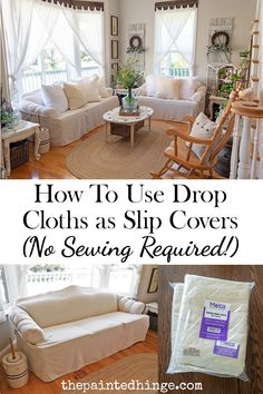 How To Use Canvas Drop Cloths as Slip Covers (No Sewing Required!) - Pinpon How To Use Canvas Drop Cloths as Slip Covers (No Sewing Required! Diy Sofa Cover, Sofa Covers, Canvas Drop Cloths, Furniture Covers, Diy Couch Cover, Drop Cloth Slipcover, Drop Cloth Projects, Home Decor, Diy Couch