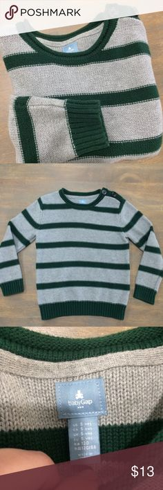 👦🏻Gap 5yrs striped sweater euc Gray and green. Excellent condition. GAP Shirts & Tops Sweaters