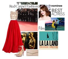 """""""Red Carpet at the Oscars #6 Emma Stone"""" by mebaraka ❤ liked on Polyvore featuring Reem Acra, Raishma, Christian Louboutin, Lanvin, Dune, RedCarpet, Oscars, gold, red and Clutch"""