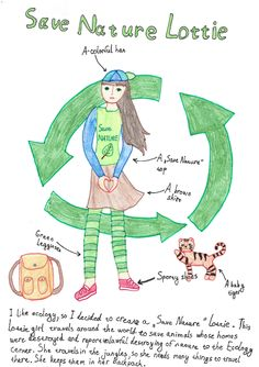Lottie Outfit Design Competition - Anastasiya age 10, from Czech Republic has designed a 'Save Naturel' Lottie who travels around the world to save animals whose homes have been destroyed and to report unlawful destroying of nature to the Ecology center. She sounds fantastic and so inspiring! We love this so much! Thanks for sharing! :)