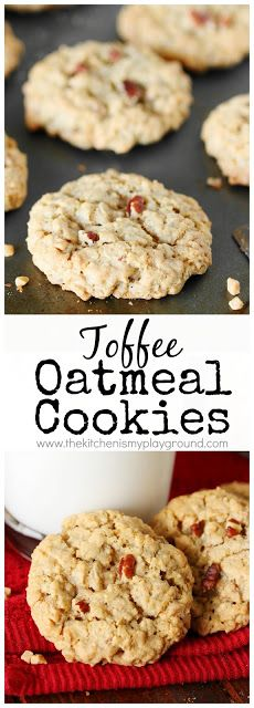 Soft and chewy oatmeal cookies loaded with toffee bits and pecans . they're packed with amazing rich flavor! Toffee Bits Recipe, Toffee Cookie Recipe, Toffee Cookies, Yummy Cookies, Raw Food Recipes, Sweet Recipes, Dessert Recipes, Soft Chewy Oatmeal Cookies, Brownies