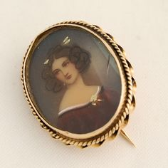 Edwardian Miniature 14k Gold Portrait Pin Hand Painted Lovely Lady