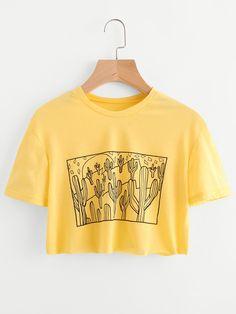 Camiseta corta con estampado de cactus-Spanish SheIn(Sheinside)