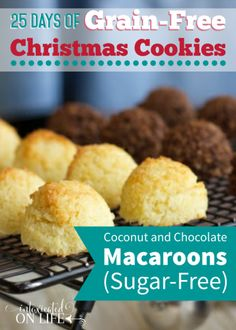 Sugar-Free, Grain-Free Coconut & Chocolate Macaroons Grains Fre Coconut, Grain Free, Grains Free