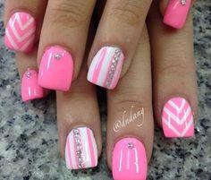 Springtime Daisies: Nail Art for Short Nails! Springtime Daisies: Nail Art for Short Nails! Fancy Nails, Trendy Nails, Love Nails, Diy Nails, Pink White Nails, Pink Nail Art, Cute Nail Art, Blue Nail, Pink Art