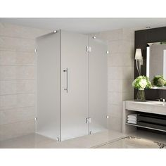 Aston Avalux 36 in. x 32 in. x 72 in. Completely Frameless Shower Enclosure with Frosted Glass in Stainless Steel