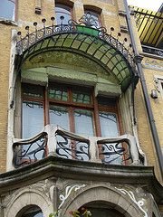 Art nouveau in Antwerp, with glass canopy