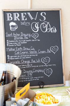 beer chalkboard sign | via Beer Tasting Couples Shower http://emmalinebride.com/shower/beer-tasting-couples-shower/
