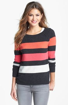 "$88 Only like it in ""Heather Charcoal Stripe"" - Halogen® Cashmere Crewneck Sweater available at #Nordstrom"