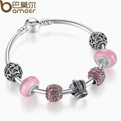 BAMOER 925 Silver Charm Bracelet Bangle with Open Your Heart & Crown Pink Murano Glass Beads Bracelet PA3070 $6.88   => Save up to 60% and Free Shipping => Order Now! #fashion #woman #shop #diy  http://www.rodjewelry.com/product/bamoer-925-silver-charm-bracelet-bangle-with-open-your-heart-crown-pink-murano-glass-beads-bracelet-pa3070/