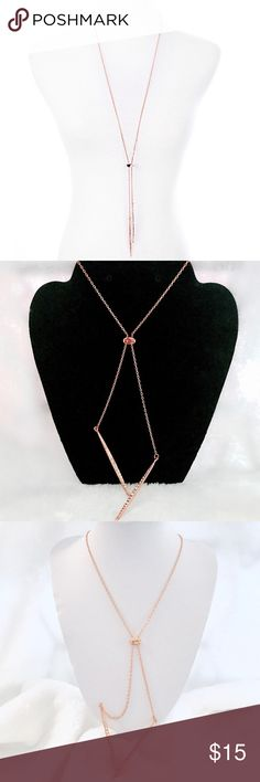 """Rose Gold & Rhinestone Matchstick Lariat Necklace Pull over, no clasp, hangs approx 20""""   • No Trades • Jewelry Necklaces"""