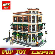 New Lepin 15017 4616Pcs Creator Expert Starbucks Cafe Bookstore Model Building Kits Birthday Toy Compatible With Legoed 10243(China)