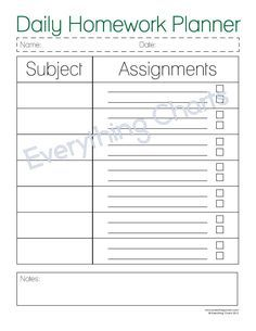 These Printable Homework Charts Let Your Kids List Their