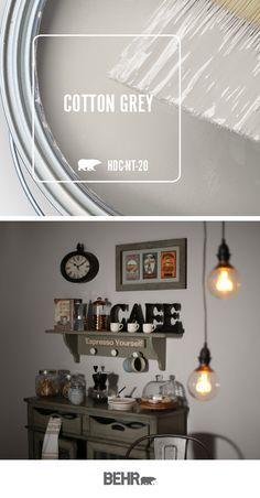 Loving the style of this at-home coffee bar? It all starts with Behr Paint in Cotton Gray. This light neutral wall hue creates the perfect backdrop for the dark, moody tones of this industrial-chic space. Click below to learn more. Behr Paint Colors, Interior Paint Colors, Paint Colors For Home, House Colors, Behr Gray Paint, Furniture Paint Colors, Neutral Wall Paint, Small Bedroom Paint Colors, Basement Wall Colors
