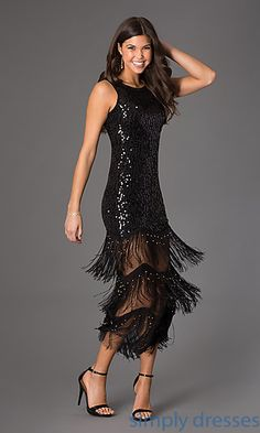 Sleeveless Sequin and Fringe Dress at SimplyDresses.com  Could be a possibility for May wedding.