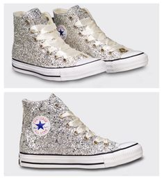 53c76857e8ebb8 Sparky Silver Glitter Converse All Star High Top or Wedge! All Wedding  Colors available.