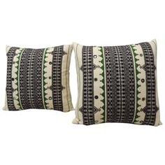 Pair of Green & Black Embroidery Pillows.