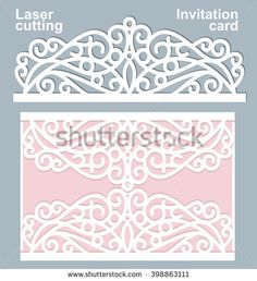 Swirl ornamental Laser cut Wedding Invitation Pocket Envelope 5x7