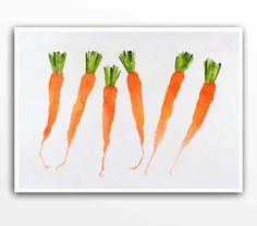 Art de carotte / aquarelle impression / légumes peinture, accueil et vivant / marché paysan / Orange cuisine mur décoration jardin botanique nature morte