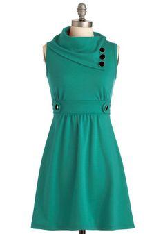 Love the buttoned neckline! Coach Tour Dress in Spearmint, #ModCloth