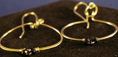 Brass Hoop with Trio Black Bead Wire Wrap Earrings by MLRanchJewelry on Etsy