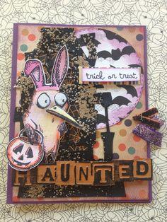 Bird Crazy Halloween Card using lots of Tim Holtz, Sizzix, Stampendous