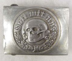 With god on your side anything is possible - Gott Mit Uns (God is with us), nazi German death head belt buckle.