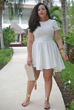 Fashion for chubby ladies, curvy girl fashion, fashion mode, plus size fash Fashion For Chubby Ladies, Curvy Girl Fashion, Plus Size Fashion, Dress For Chubby Ladies, White Plus Size Dresses, Cute White Dress, Plus Size Outfits, Cream Dresses, Fancy Dress