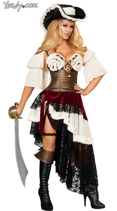 Deluxe Sexy Pirateer Costume, Deluxe Pirate Halloween Costume, Womens Pirate Costume