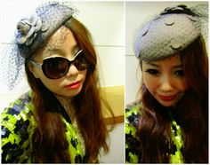 Grey Flower Corsage Face Veil Fascinator Hat from teoel.com