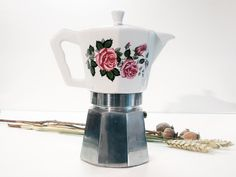 Coffee Maker, porcelain and stainless steel 60s Italian