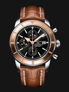 Superocean Héritage Chronographe 46 watch by Breitling - stainless steel case, rose gold bezel, black dial, golden brown crocodile strap