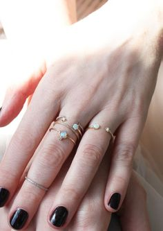WWAVA rings, available at CatBirdNYC. Love these opals, thinking of spoiling myself with one. #weddingbelles