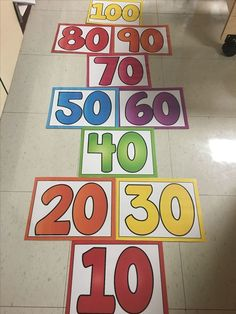 Skip counting for each pattern but start at zero, need a couple of bean bags, maybe try using foam mats, paper might crunch. school celebration Let's Celebrate the Day! Preschool Math, Teaching Math, Math Activities, Physical Activities, Movement Activities, 100 Days Of School, School Holidays, 100s Day, Counting To 100