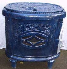 Antique FRENCH ART DECO blue ENAMEL Deville Le Non Pareil wood burning stove