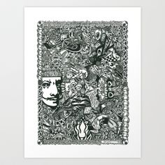 Hello Dali Art Print by Jennifer Jill Johnson - $20.80 Drawn with my favorite pen, a simple black pen, this is what I LOVE to do! I start somewhere on the paper, usually with an eyeball and let my mind go from there. Hidden messages are within, along with my trade mark Peace sign and a band aid. This is my therapy. My life. A collage mirage of tangled twisted images that somehow keep me insanely sane.