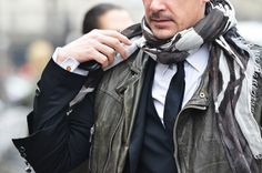 Even men can wow you with a scarf for winter outfit. #fashion